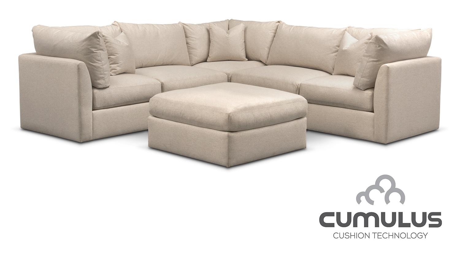 Trenton Cumulus 5 Piece Sectional And Ottoman Set   Linen Part 34