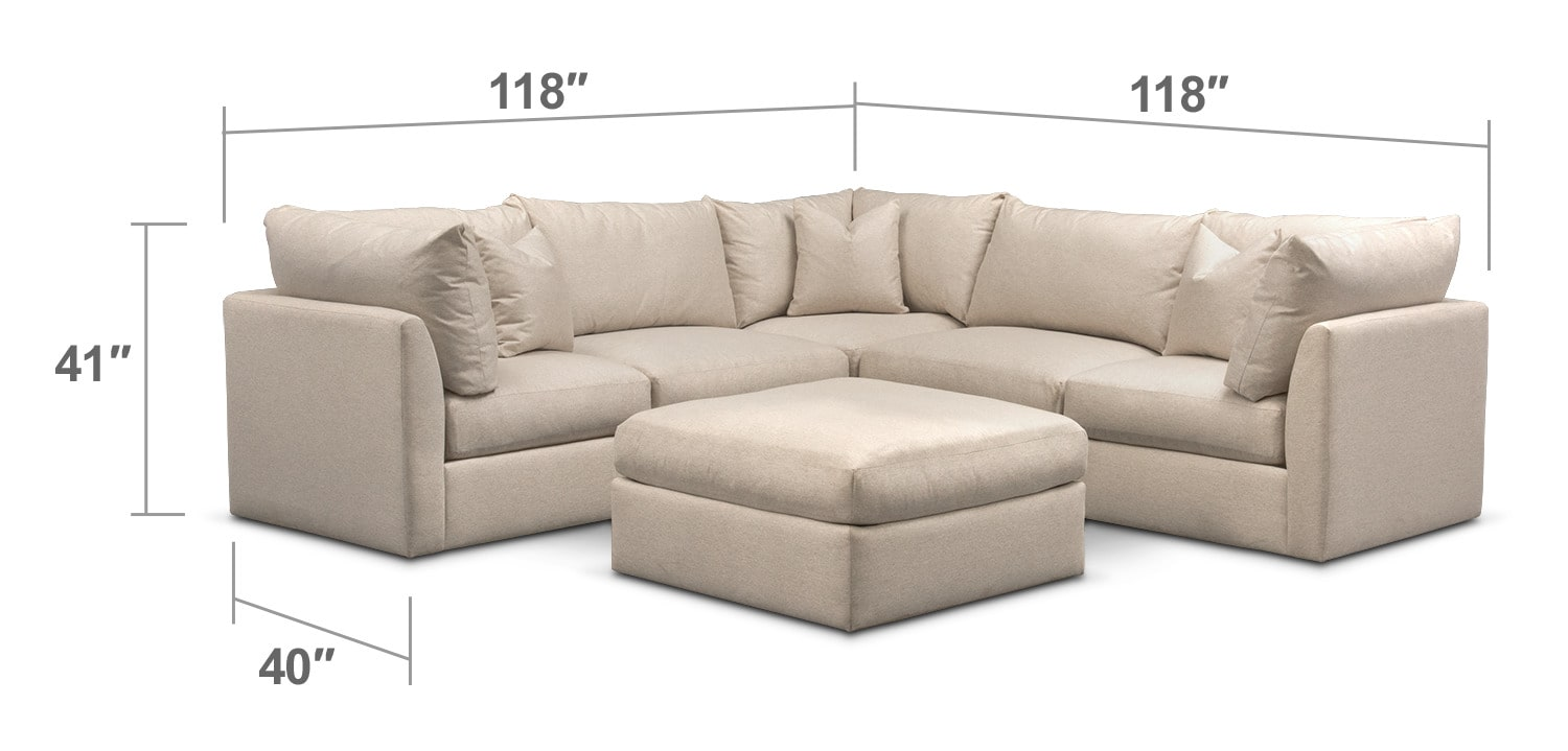 Living Room Furniture - Trenton Cumulus 5-Piece Sectional and Ottoman Set - Linen