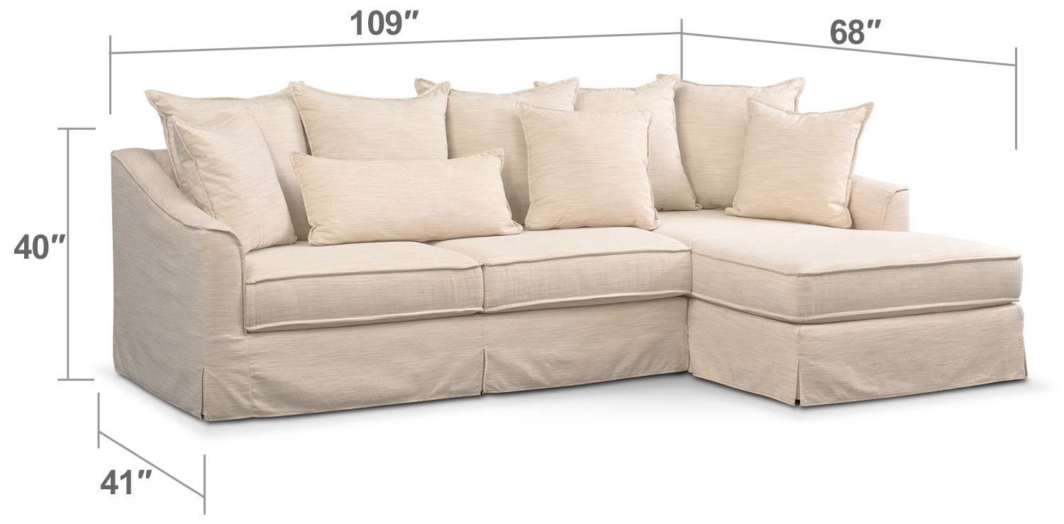 Living Room Furniture - Brooke Comfort 2-Piece Sectional with Right-Facing Chaise - Ivory