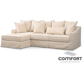 Brooke Comfort 2-Piece Sectional with Left-Facing Chaise - Ivory
