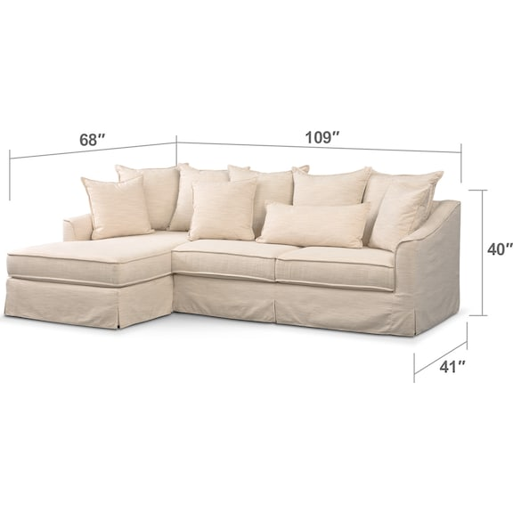 Living Room Furniture - Brooke Comfort 2-Piece Sectional with Left-Facing Chaise - Ivory