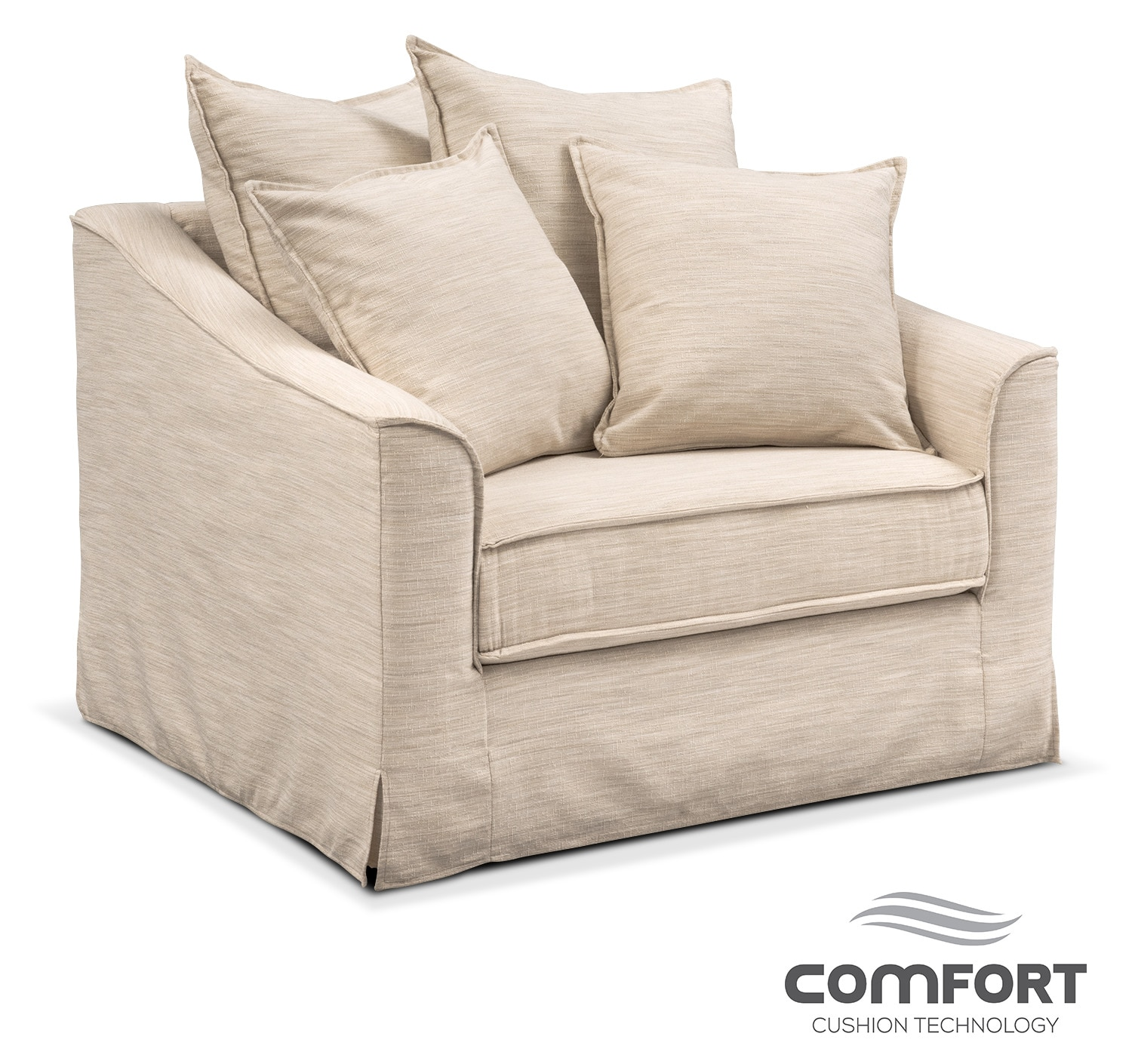 Living Room Furniture - Brooke Comfort Chair and a Half - Ivory