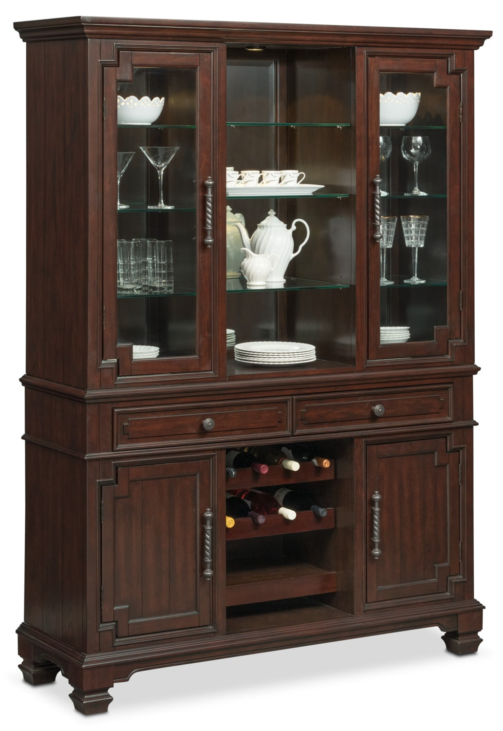 Dining Room Furniture - Vienna Buffet and Hutch - Merlot