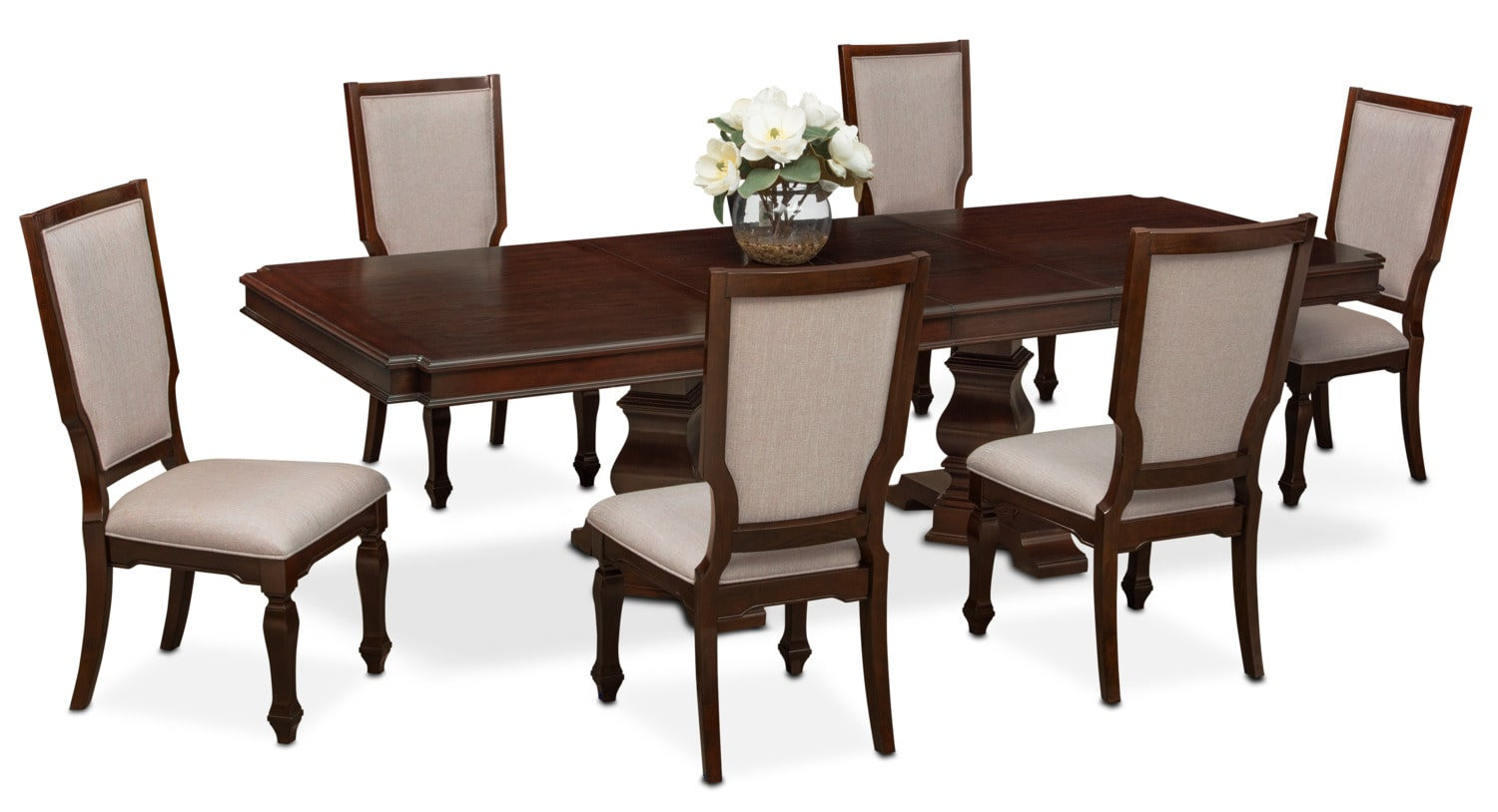Vienna Dining Table and 6 Upholstered Side Chairs - Merlot