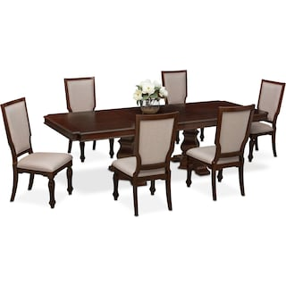vienna dining table and 6 upholstered side chairs merlot - Dining Room Sets Value City Furniture