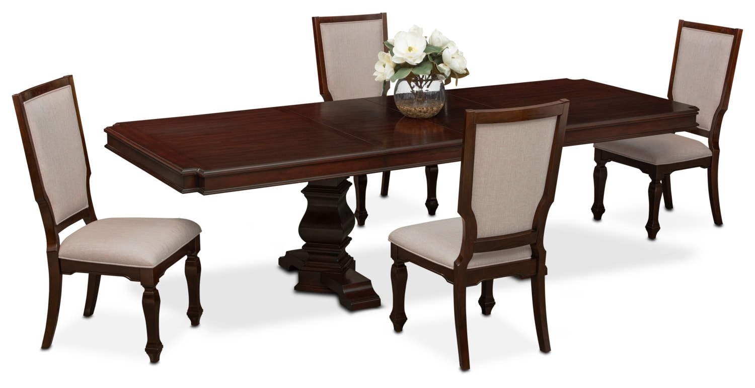 Dining Room Furniture - Vienna Rectangular Dining Table and 4 Upholstered Side Chairs - Merlot