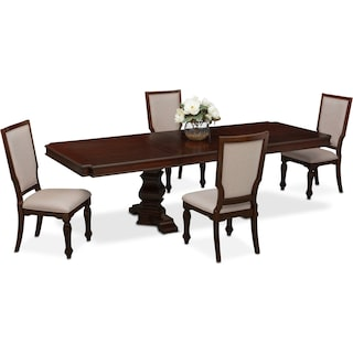 vienna rectangular dining table and 4 upholstered side chairs merlot - Dining Room Sets Value City Furniture