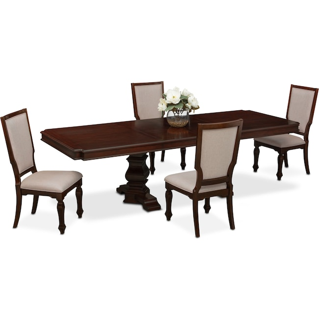 Dining Room Furniture - Vienna Rectangular Dining Table and 4 Upholstered Dining Chairs