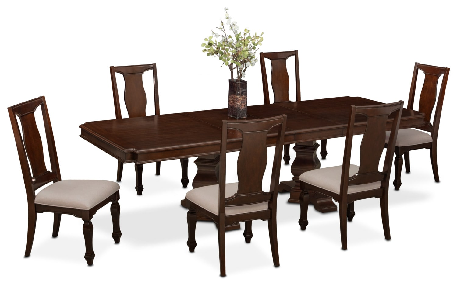 Vienna Dining Table and 6 Side Chairs - Merlot