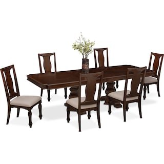 vienna dining table and 6 side chairs merlot. Interior Design Ideas. Home Design Ideas