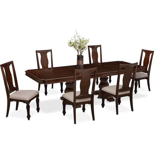 Dining Room Furniture Vienna Table And 6 Side Chairs Merlot