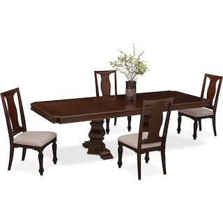 Vienna Rectangular Dining Table and 4 Side Chairs - Merlot