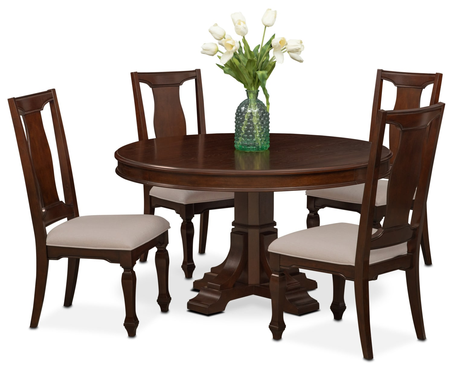 Vienna Round Dining Table and 4 Side Chairs - Merlot