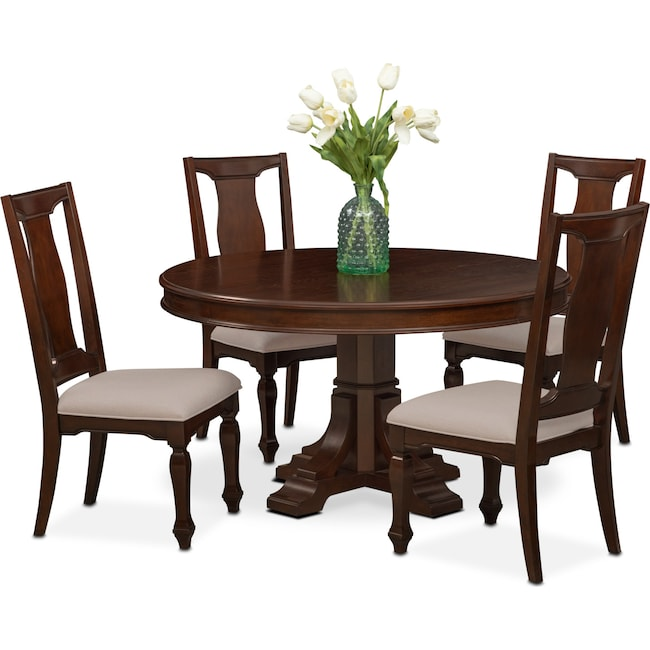 Dining Room Furniture - Vienna Round Dining Table and 4 Side Chairs - Merlot