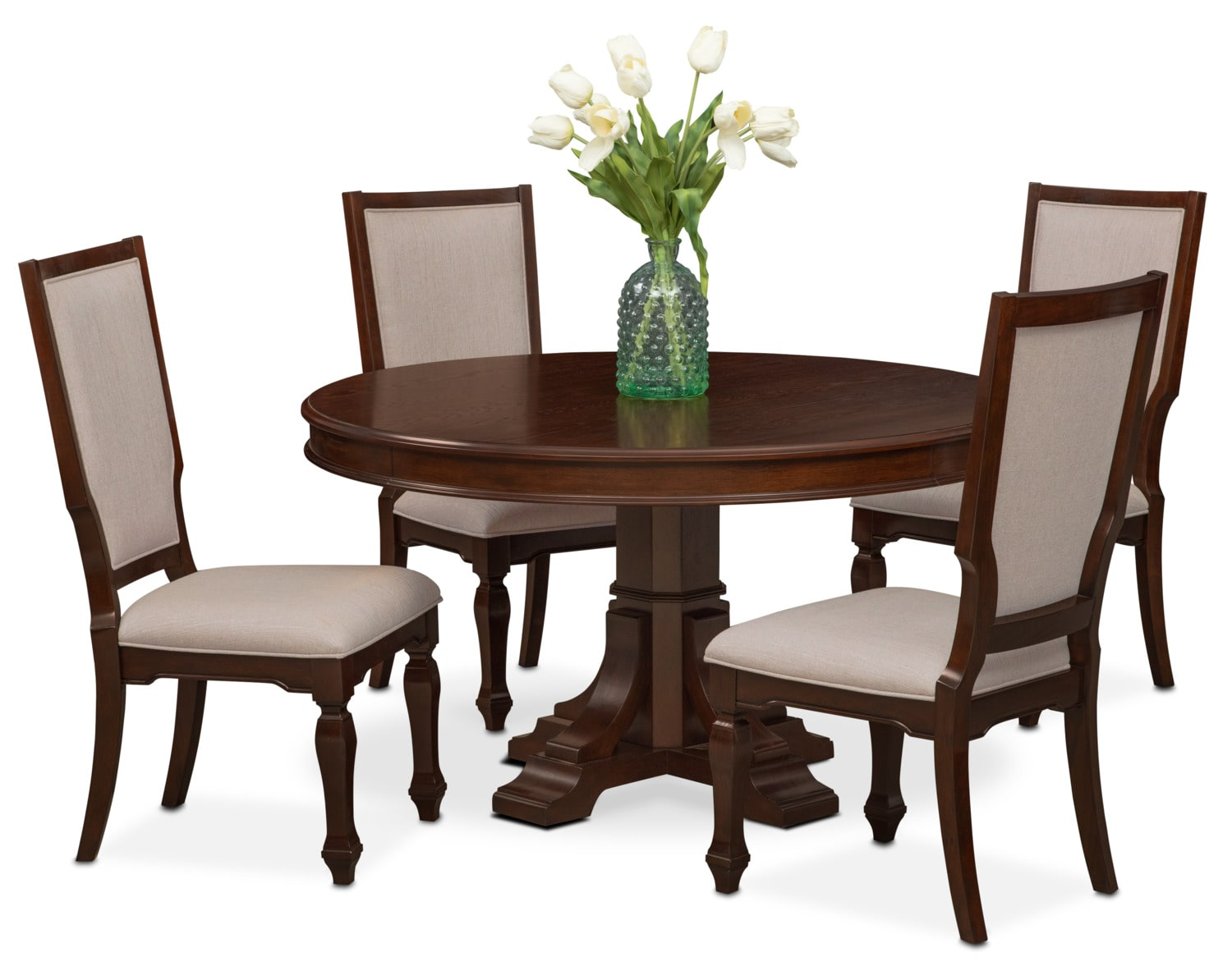 Dining Room Furniture - Vienna Round Dining Table and 4 Upholstered Side Chairs - Merlot
