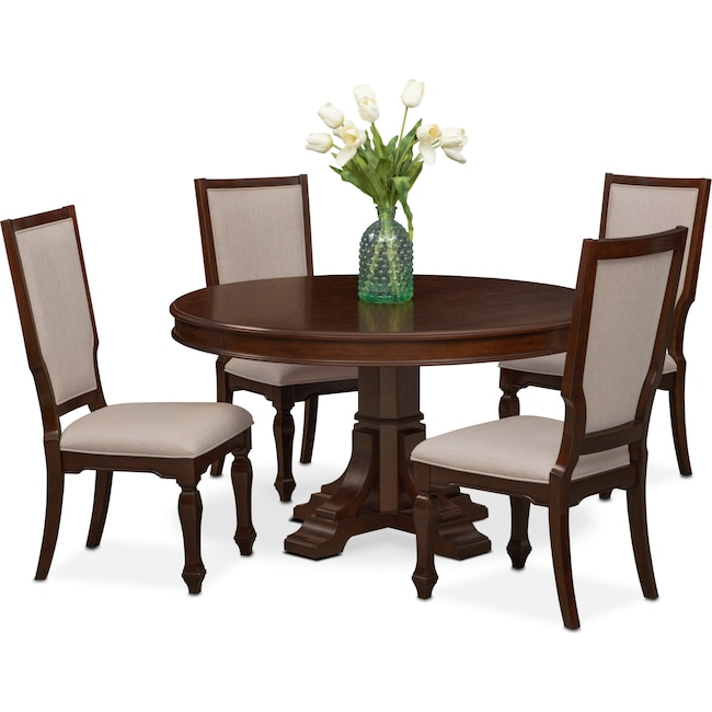 City Furniture Dining Room: Vienna Round Dining Table And 4 Upholstered Side Chairs