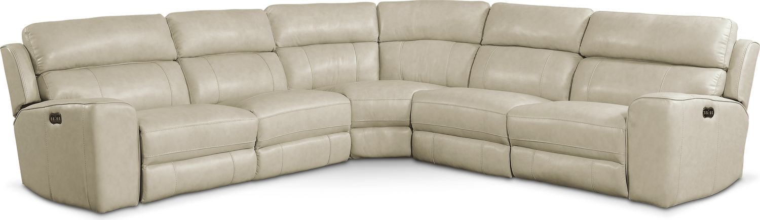 Living Room Furniture - Newport 5-Piece Power Reclining Sectional with 3 Reclining Seats - Cream