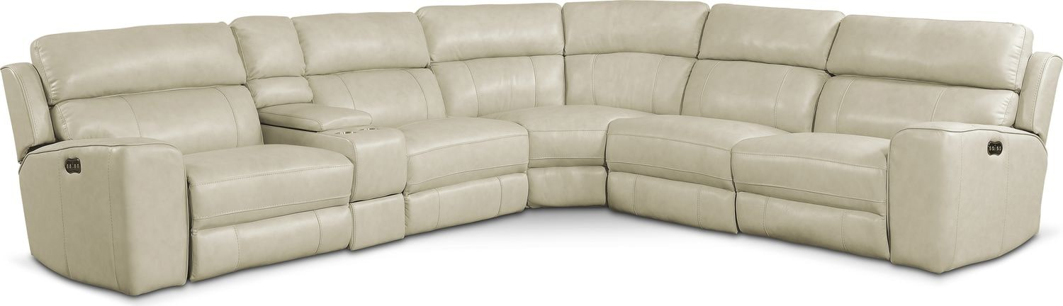 Newport 6-Piece Power Reclining Sectional with 2 Reclining Seats - Cream