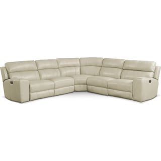 Newport 5-Piece Power Reclining Sectional with 2 Reclining Seats - Cream