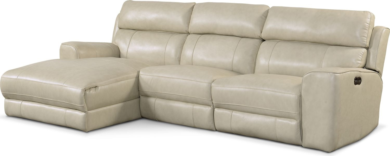 Living Room Furniture - Newport 3-Piece Power Reclining Sectional with Left-Facing Chaise - Cream