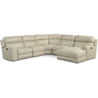 Newport 5-Piece Power Reclining Sectional with Right-Facing Chaise and 2 Recliners - Cream