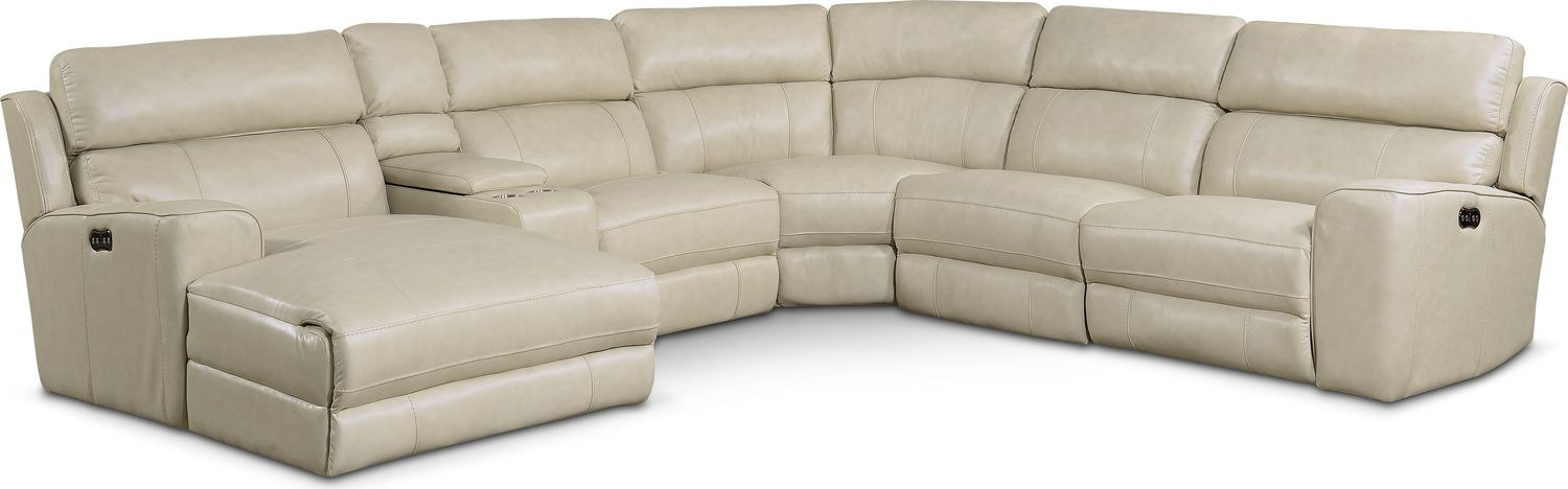 Living Room Furniture - Newport 6-Piece Power Reclining Sectional with Left-Facing Chaise and 1 Recliner - Cream