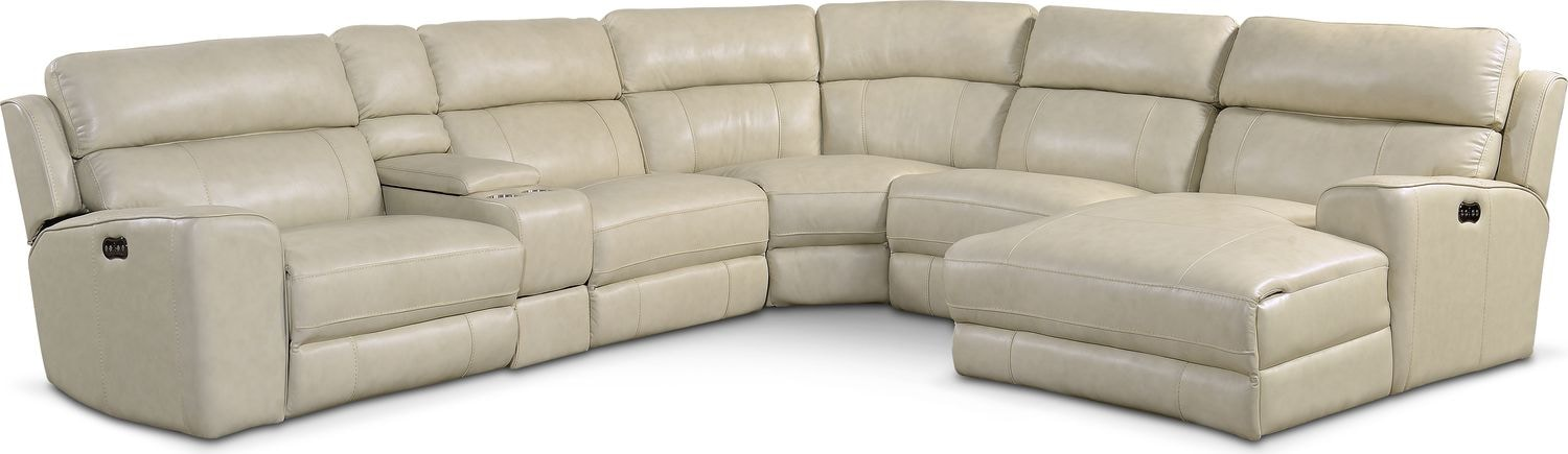 Newport 6-Piece Power Reclining Sectional with Right-Facing Chaise and 1 Recliner - Cream