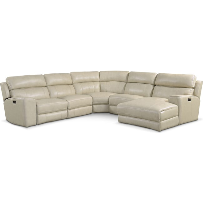 Living Room Furniture - Newport 5-Piece Power Reclining Sectional with Right-Facing Chaise and 1 Recliner - Cream