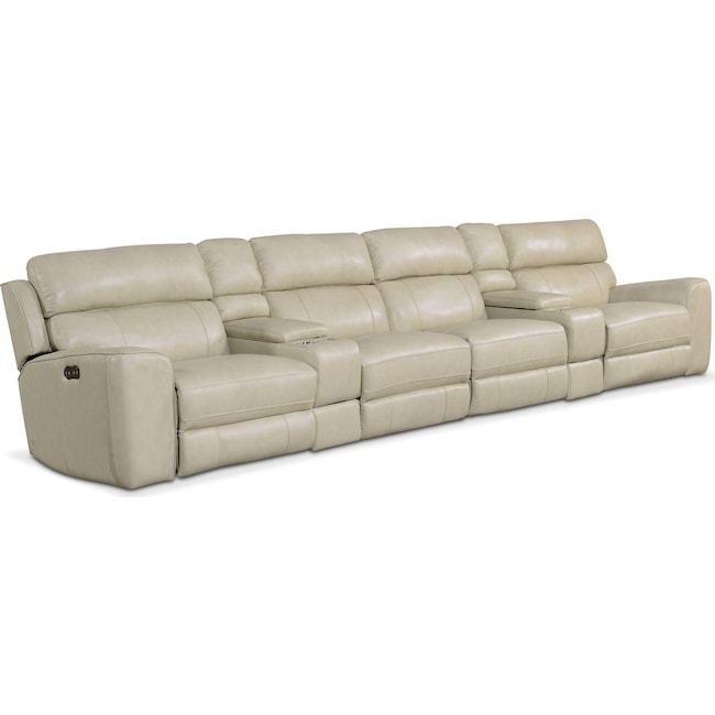 Living Room Furniture - Newport 6-Piece Power Reclining Sectional with 4 Reclining Seats - Cream