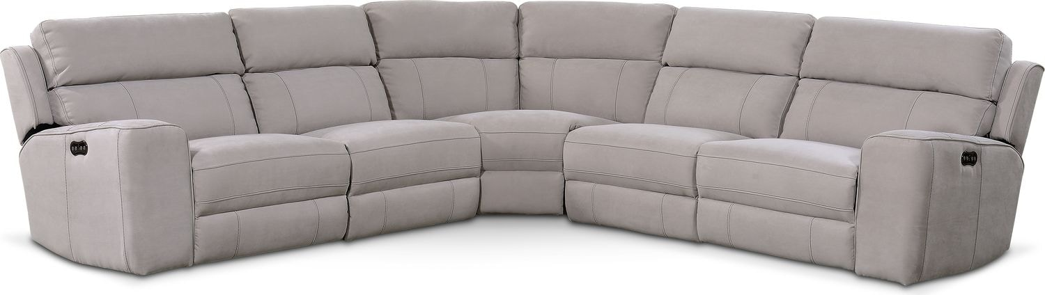 Living Room Furniture - Newport 5-Piece Power Reclining Sectional with 3 Reclining Seats - Light Gray