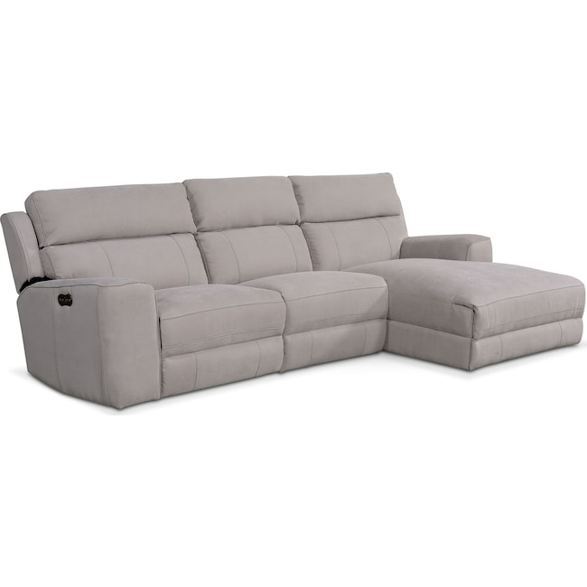 Living Room Furniture - Newport 3-Piece Power Reclining Sectional with Right-Facing Chaise - Light Gray