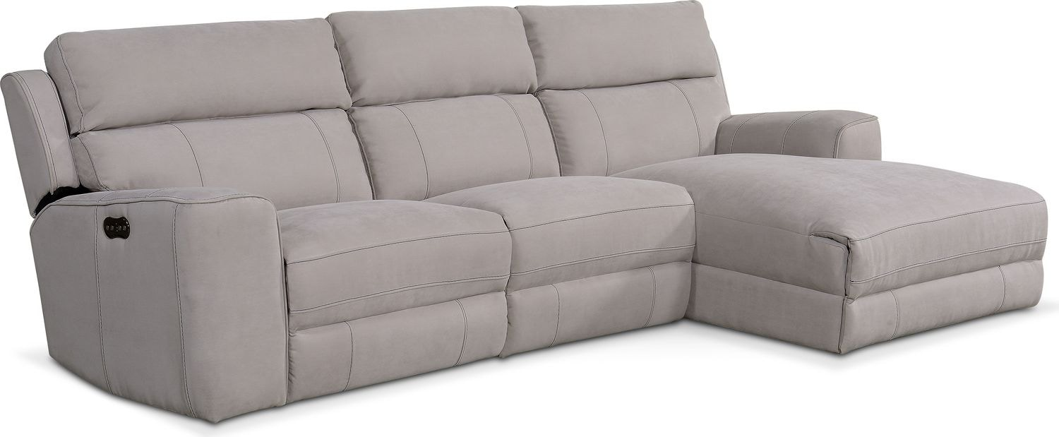 Living Room Furniture - Newport 3-Piece Power Reclining Sectional with Right -Facing Chaise  sc 1 st  Value City Furniture : right facing sectional - Sectionals, Sofas & Couches
