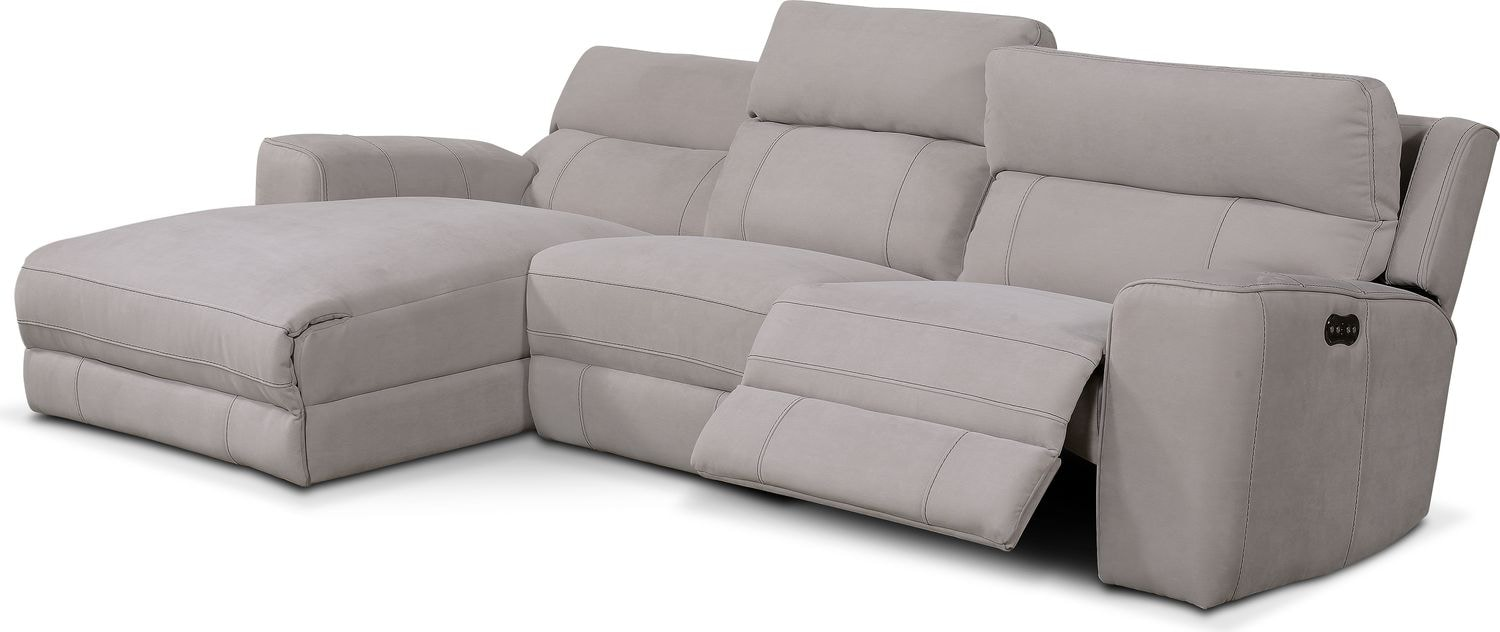 Newport 3 Piece Power Reclining Sectional With Left Facing Chaise Light Gray Value City