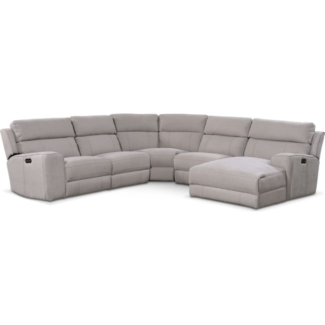 Living Room Furniture - Newport 5-Piece Power Reclining Sectional with Right-Facing Chaise and 2 Recliners - Light Gray