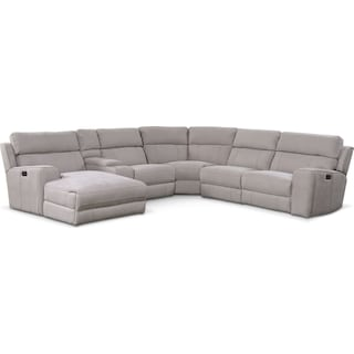 Newport 6-Piece Power Reclining Sectional with Left-Facing Chaise and 1 Recliner - Light Gray