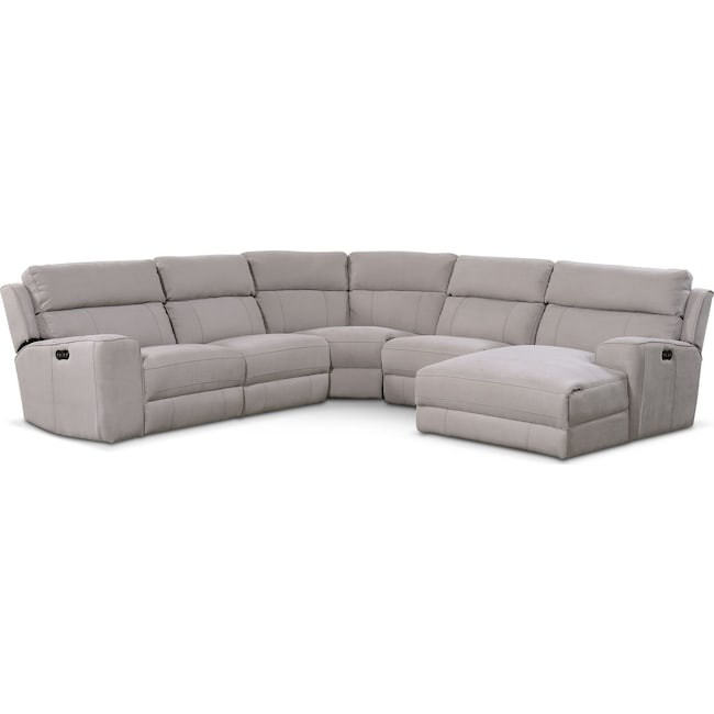 Living Room Furniture - Newport 5-Piece Power Reclining Sectional with Right-Facing Chaise and 1 Recliner - Light Gray