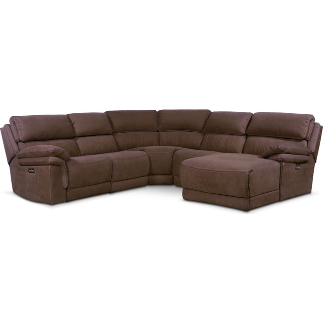 Living Room Furniture - Monterey 5-Piece Power Reclining Sectional with Right-Facing Chaise and 2 Recliners - Mocha
