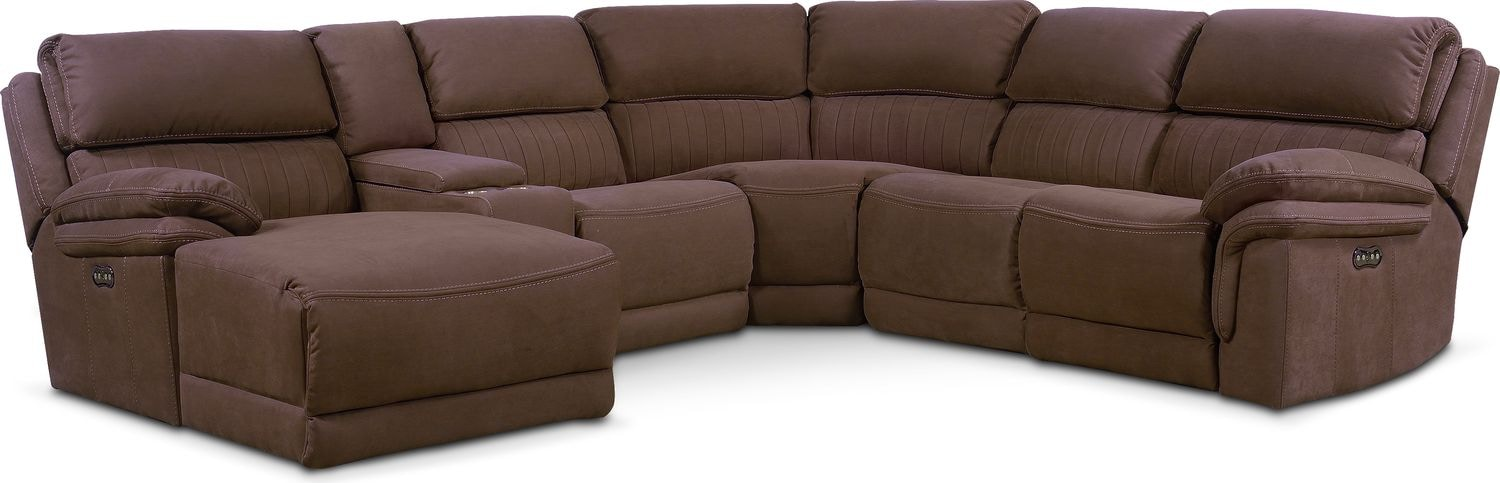 Monterey 6-Piece Power Reclining Sectional with Left-Facing Chaise and 1 Recliner - Mocha