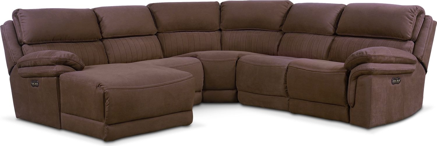 Living Room Furniture - Monterey 5-Piece Power Reclining Sectional with Left-Facing Chaise and 1 Recliner - Mocha