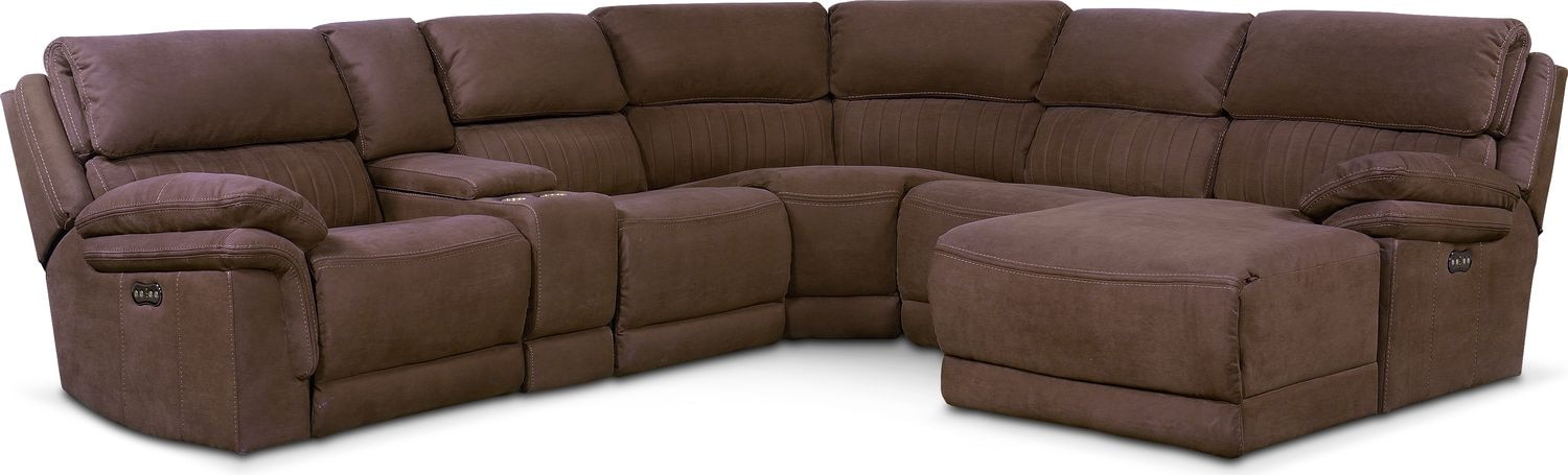 monterey 6piece power reclining sectional with rightfacing chaise and 1 recliner