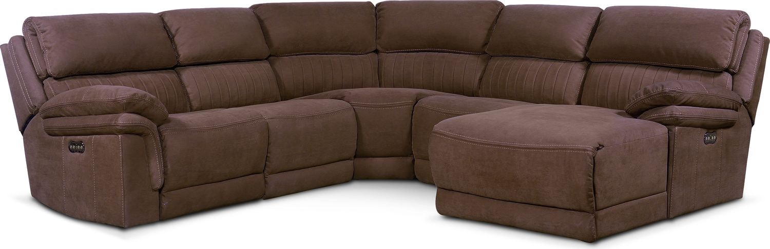 Living Room Furniture - Monterey 5-Piece Power Reclining Sectional with Right-Facing Chaise and 1 Recliner - Mocha