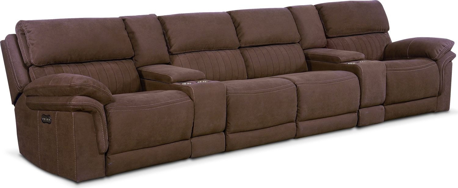 Living Room Furniture - Monterey 6-Piece Power Reclining Sectional with 4 Reclining Seats - Mocha