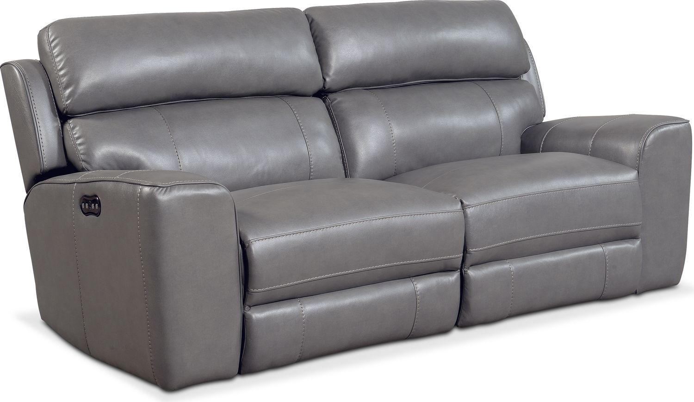 Living Room Furniture - Newport 2-Piece Power Reclining Sofa - Gray