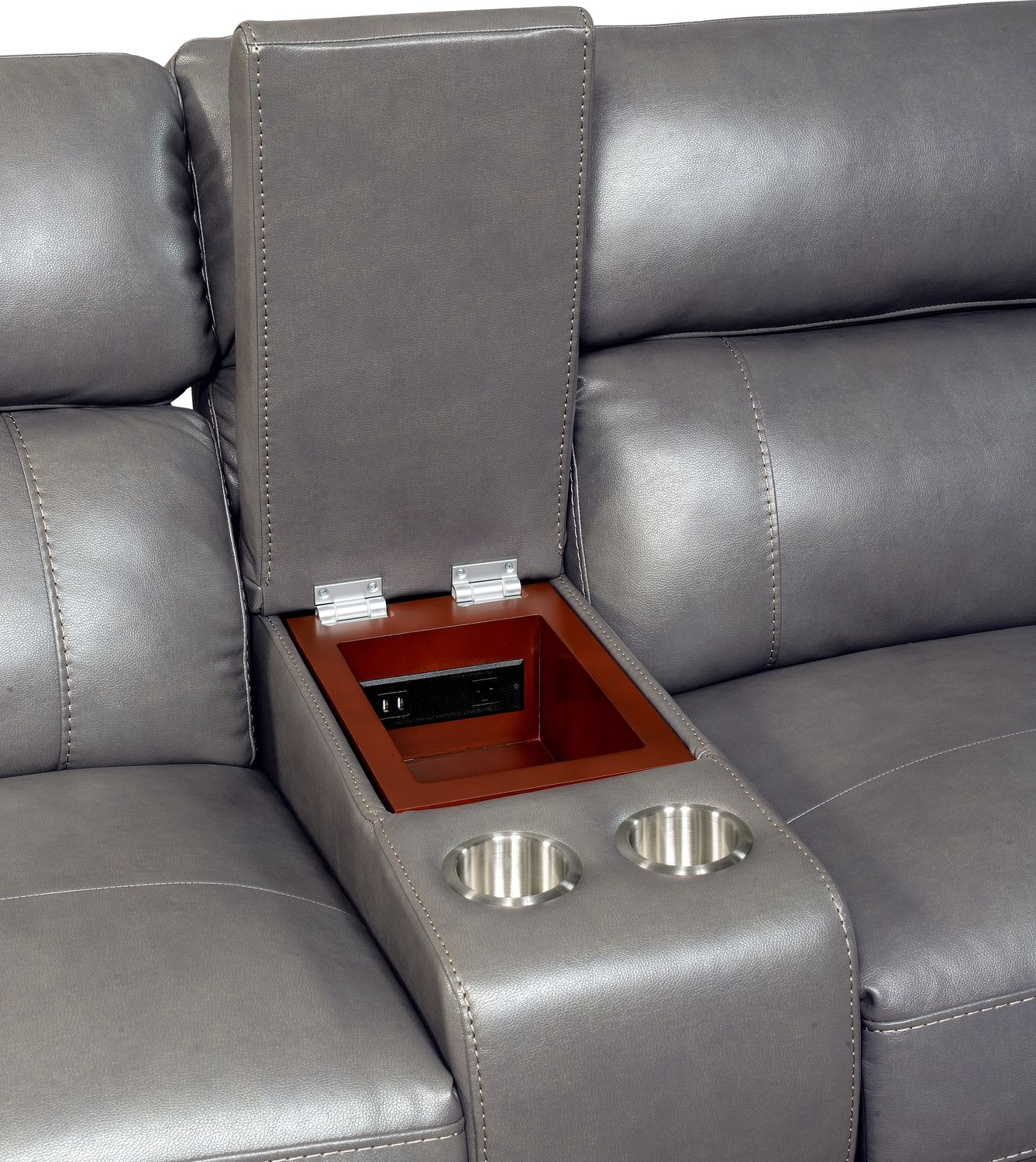 Newport 3 Piece Power Reclining Sofa With Console   Gray