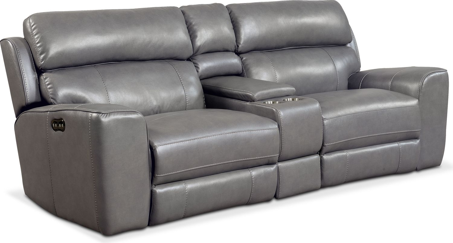 Attirant ... Reclining Sofa With Console   Gray. Hover To Zoom