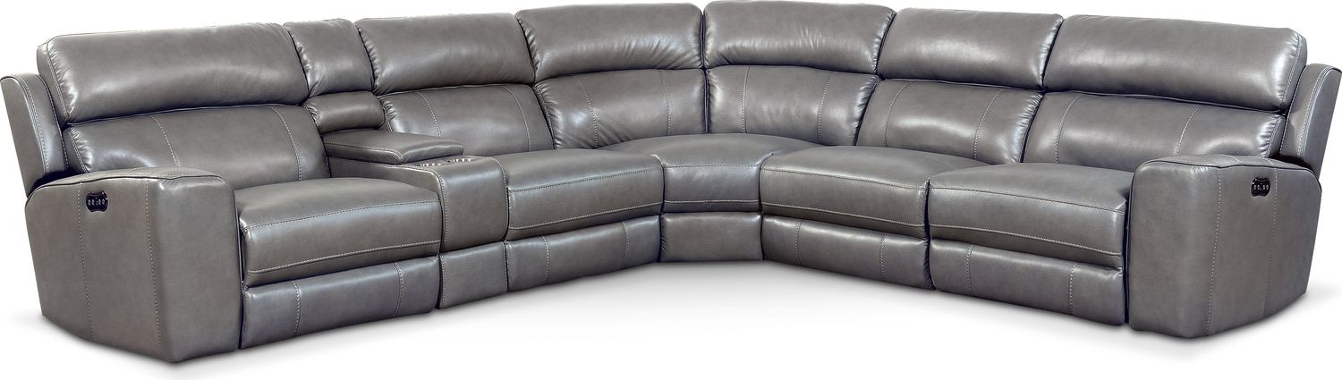 Living Room Furniture - Newport 6-Piece Power Reclining Sectional with 3 Reclining Seats - Gray