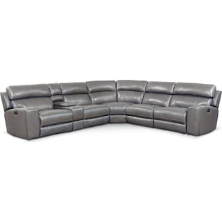 Newport 6-Piece Power Reclining Sectional with 3 Reclining Seats - Gray
