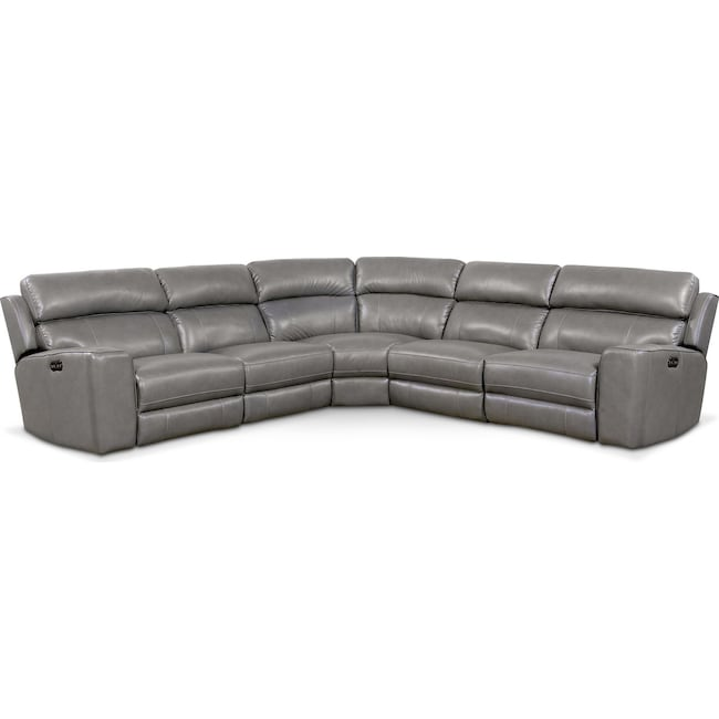 Living Room Furniture - Newport 5-Piece Power Reclining Sectional with 3 Reclining Seats - Gray