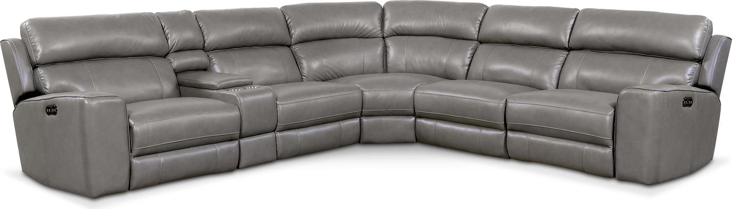 Living Room Furniture - Newport 6-Piece Power Reclining Sectional with 2 Reclining Seats - Gray
