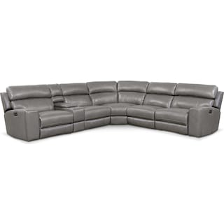 Newport 6-Piece Power Reclining Sectional with 2 Reclining Seats - Gray